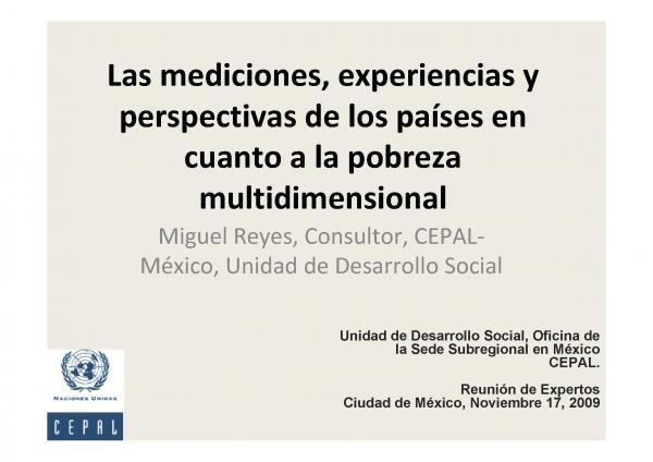 Las mediciones, experiencias y perspectivas de los países en cuanto a la pobreza multidimensional