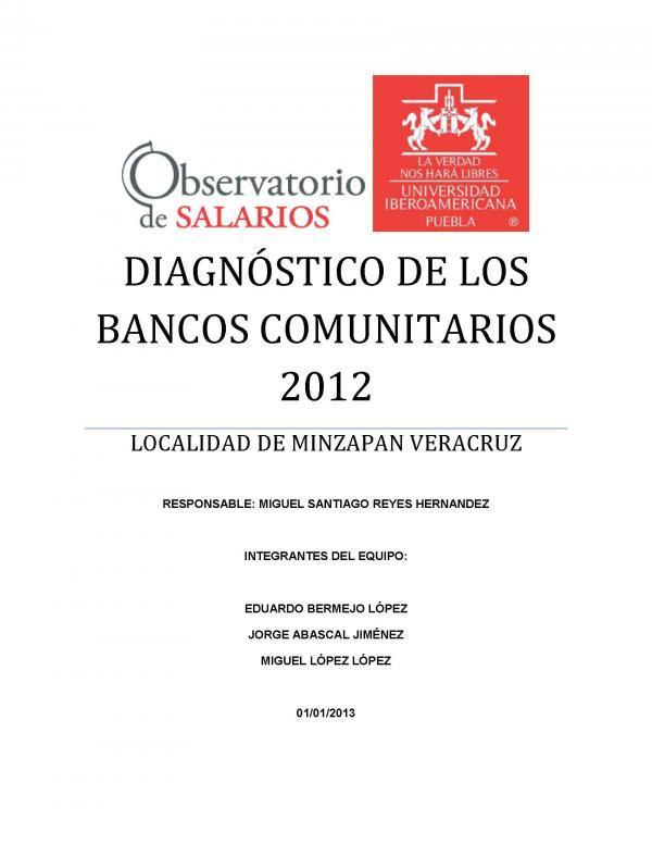 DIAGNÓSTICO DE LOS BANCOS COMUNITARIOS 2012. LOCALIDAD DE MINZAPAN, VERACRUZ